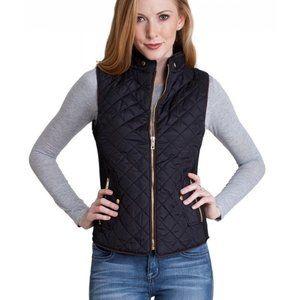 Zara Woman Black Zip Up Quilted Puffer Vest NWOT